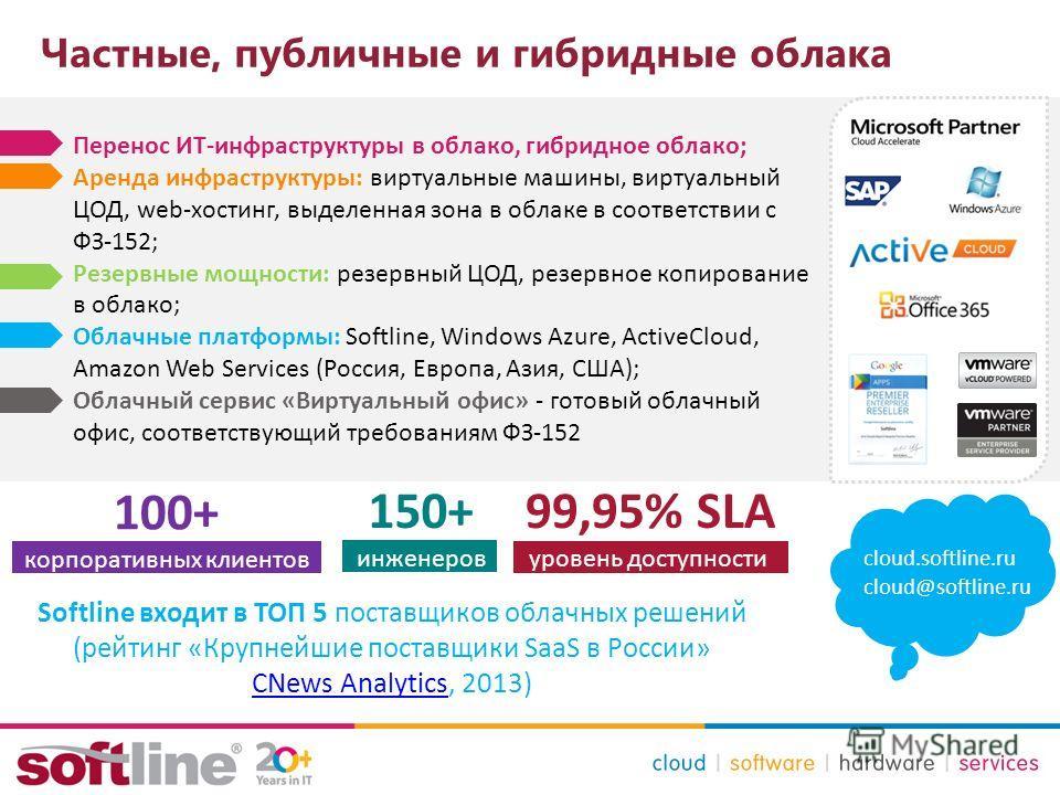 Частные, публичные и гибридные облака cloud.softline.ru cloud@softline.ru Перенос ИТ-инфраструктуры в облако, гибридное облако; Аренда инфраструктуры: виртуальные машины, виртуальный ЦОД, web-хостинг, выделенная зона в облаке в соответствии с ФЗ-152;