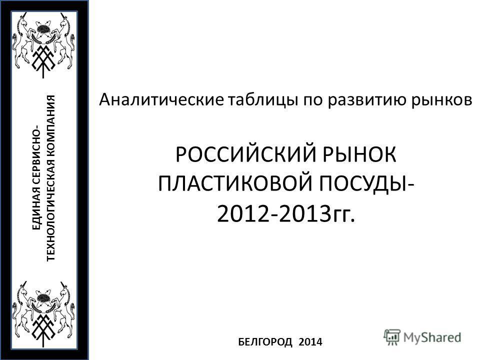 Аналитические таблицы по развитию рынков РОССИЙСКИЙ РЫНОК ПЛАСТИКОВОЙ ПОСУДЫ- 2012-2013 гг. ЕДИНАЯ СЕРВИСНО- ТЕХНОЛОГИЧЕСКАЯ КОМПАНИЯ БЕЛГОРОД 2014