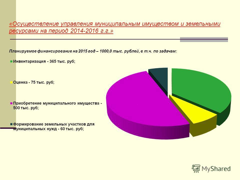 «Осуществление управления муниципальным имуществом и земельными ресурсами на период 2014-2016 г.г.» Планируемое финансирование на 2015 год – 1000,0 тыс. рублей, в т.ч. по задачам: