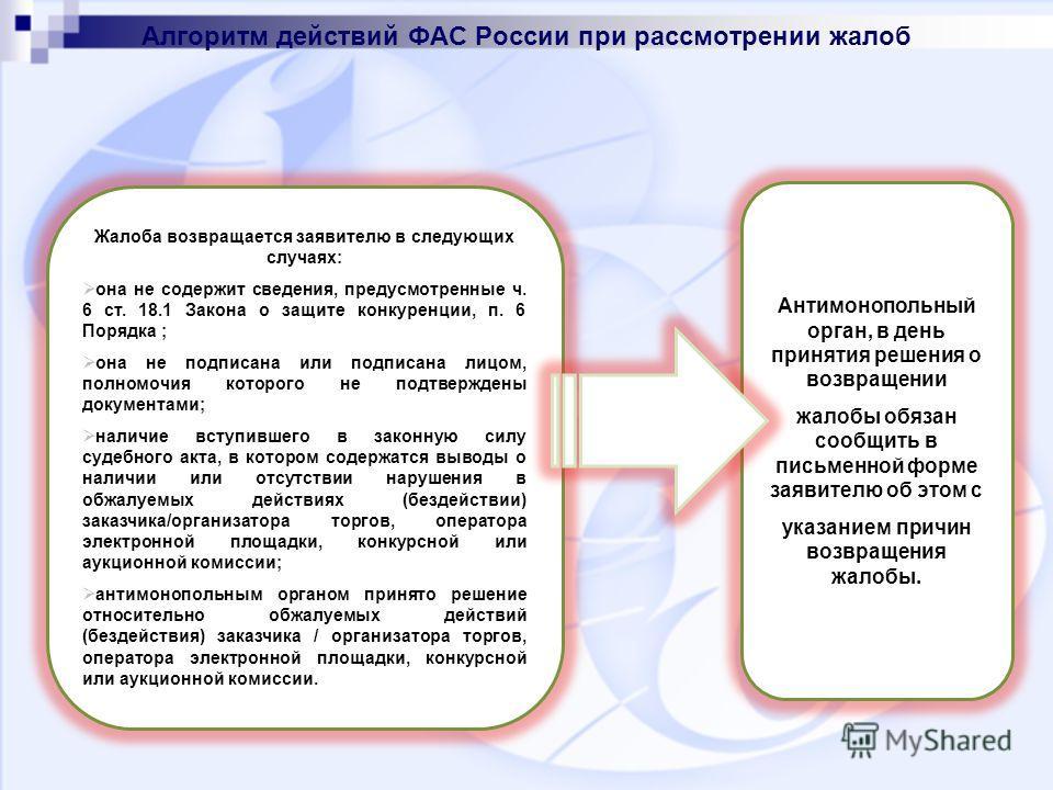 Алгоритм действий ФАС России при рассмотрении жалоб Жалоба возвращается заявителю в следующих случаях: она не содержит сведения, предусмотренные ч. 6 ст. 18.1 Закона о защите конкуренции, п. 6 Порядка ; она не подписана или подписана лицом, полномочи