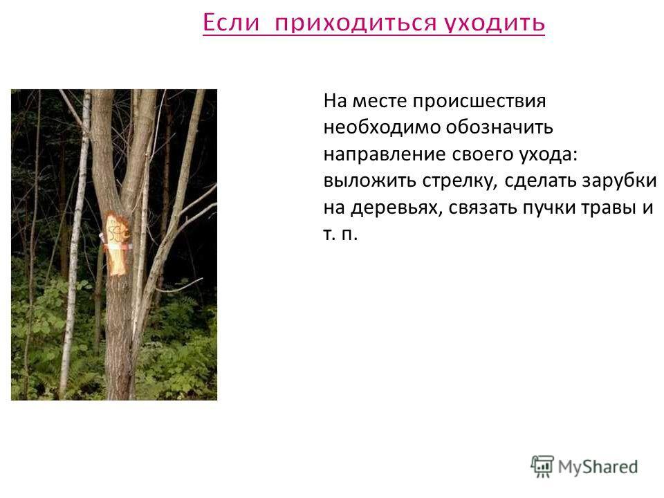 На месте происшествия необходимо обозначить направление своего ухода: выложить стрелку, сделать зарубки на деревьях, связать пучки травы и т. п.