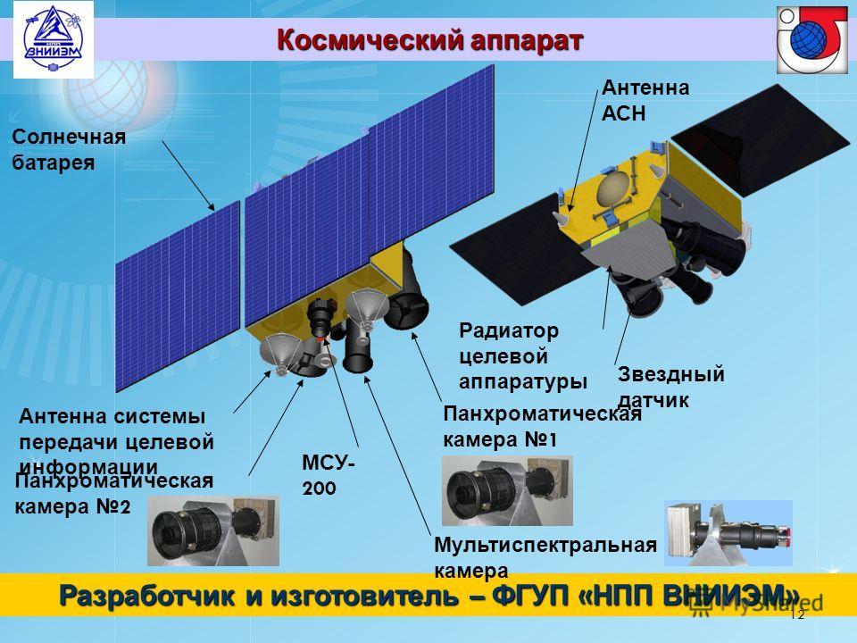 Космический аппарат Разработчик и изготовитель – ФГУП « НПП ВНИИЭМ » Солнечная батарея МСУ - 200 Антенна системы передачи целевой информации Панхроматическая камера 2 Панхроматическая камера 1 Мультиспектральная камера Антенна АСН Звездный датчик Рад