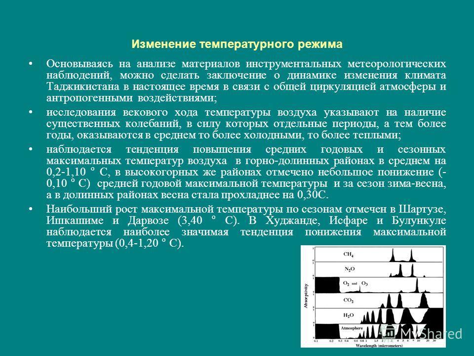 Изменение температурного режима Основываясь на анализе материалов инструментальных метеорологических наблюдений, можно сделать заключение о динамике изменения климата Таджикистана в настоящее время в связи с общей циркуляцией атмосферы и антропогенны