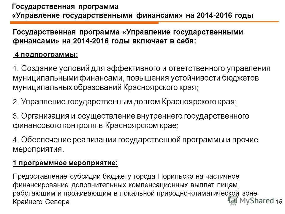 Государственная программа «Управление государственными финансами» на 2014-2016 годы Государственная программа «Управление государственными финансами» на 2014-2016 годы включает в себя: 4 подпрограммы: 1. Создание условий для эффективного и ответствен