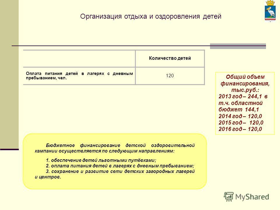Организация отдыха и оздоровления детей Количество детей Оплата питания детей в лагерях с дневным пребыванием, чел. 120 Общий объем финансирования, тыс.руб.: 2013 год – 244,1 в т.ч. областной бюджет 144,1 2014 год – 120,0 2015 год – 120,0 2016 год –