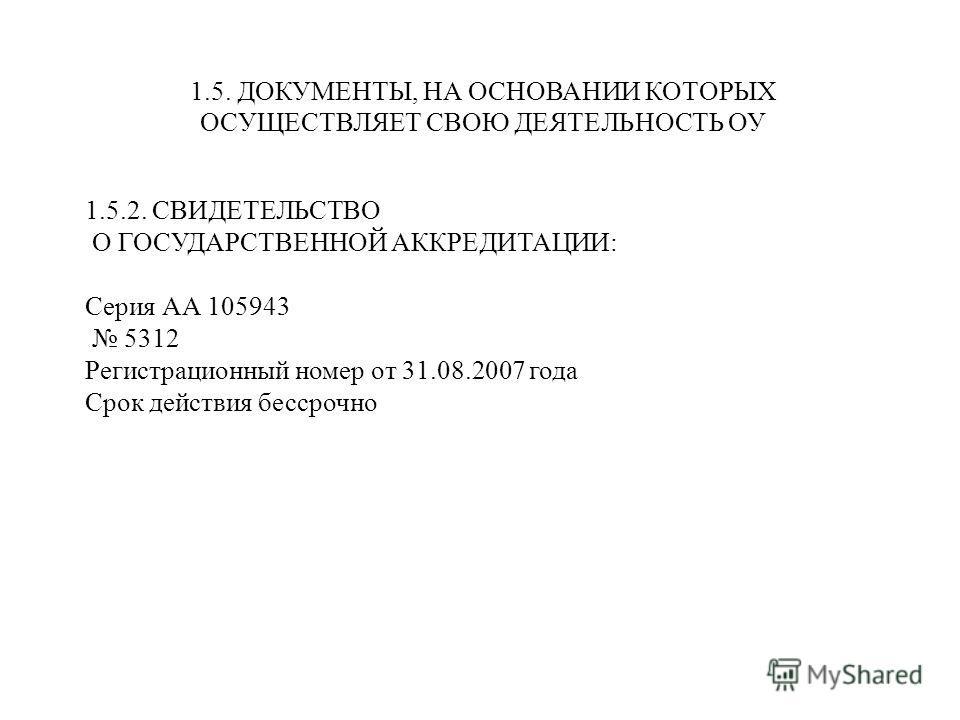 1.5.2. СВИДЕТЕЛЬСТВО О ГОСУДАРСТВЕННОЙ АККРЕДИТАЦИИ: Серия АА 105943 5312 Регистрационный номер от 31.08.2007 года Срок действия бессрочно 1.5. ДОКУМЕНТЫ, НА ОСНОВАНИИ КОТОРЫХ ОСУЩЕСТВЛЯЕТ СВОЮ ДЕЯТЕЛЬНОСТЬ ОУ