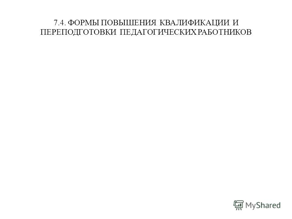 7.4. ФОРМЫ ПОВЫШЕНИЯ КВАЛИФИКАЦИИ И ПЕРЕПОДГОТОВКИ ПЕДАГОГИЧЕСКИХ РАБОТНИКОВ
