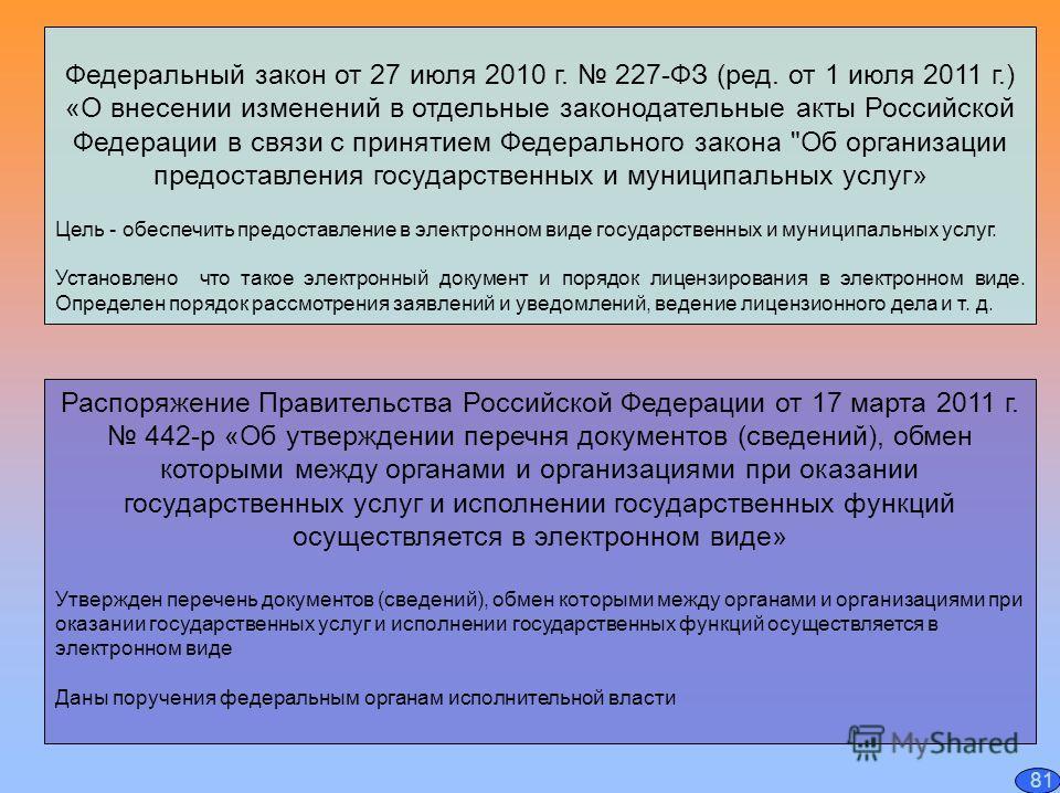 Федеральный закон от 27 июля 2010 г. 227-ФЗ (ред. от 1 июля 2011 г.) «О внесении изменений в отдельные законодательные акты Российской Федерации в связи с принятием Федерального закона