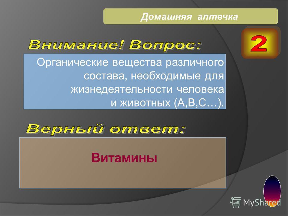 Органические вещества различного состава, необходимые для жизнедеятельности человека и животных (А,В,С…). Витамины Домашняя аптечка
