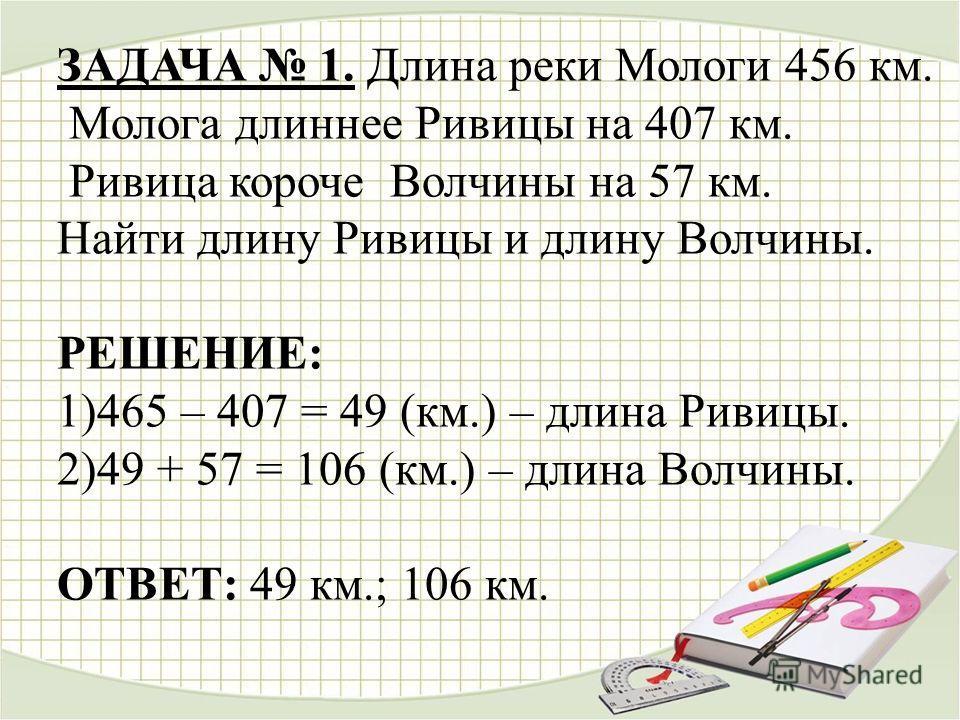 ЗАДАЧА 1. Длина реки Мологи 456 км. Молога длиннее Ривицы на 407 км. Ривица короче Волчины на 57 км. Найти длину Ривицы и длину Волчины. РЕШЕНИЕ: 1)465 – 407 = 49 (км.) – длина Ривицы. 2)49 + 57 = 106 (км.) – длина Волчины. ОТВЕТ: 49 км.; 106 км.