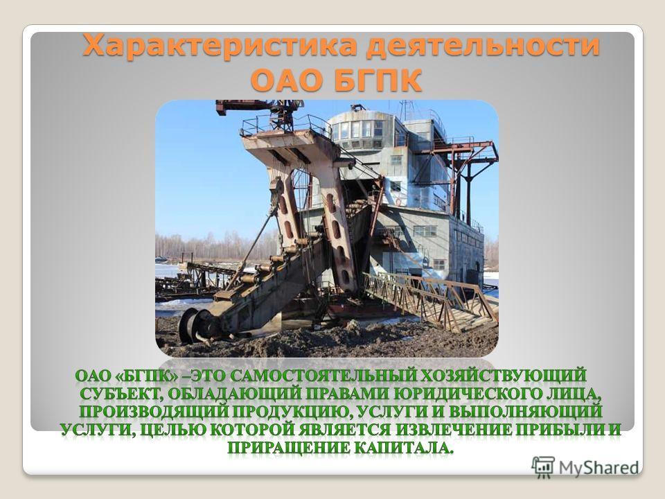 Характеристика деятельности ОАО БГПК Характеристика деятельности ОАО БГПК