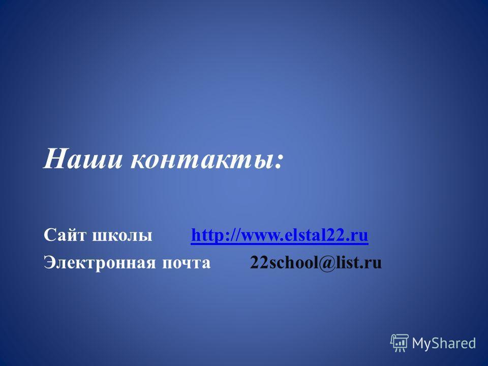 Наши контакты: Сайт школы http://www.elstal22.ruhttp://www.elstal22. ru Электронная почта 22school@list.ru