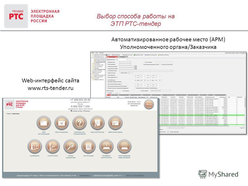 Выбор способа работы на ЭТП РТС-тендер Web-интерфейс сайта www.rts-tender.ru Автоматизированное рабочее место (АРМ) Уполномоченного органа/Заказчика