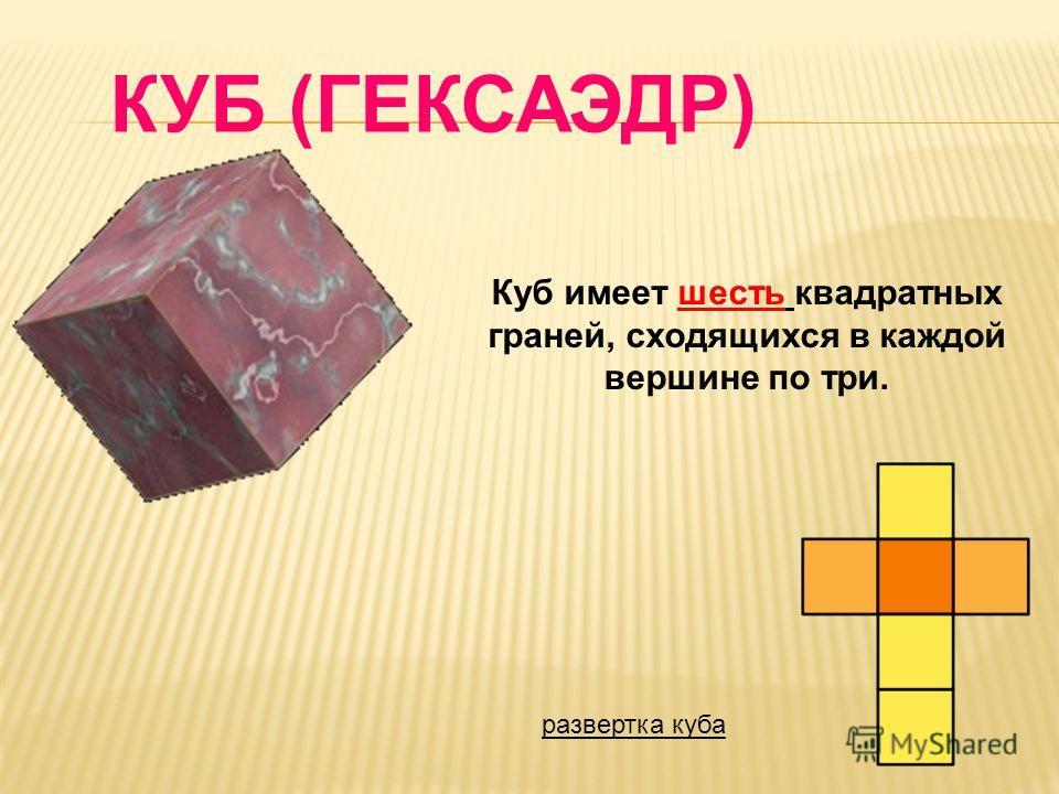 Куб имеет шесть квадратных граней, сходящихся в каждой вершине по три. КУБ (ГЕКСАЭДР) развертка куба