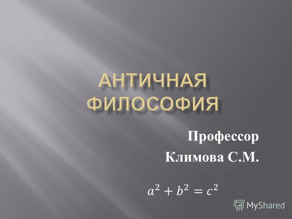 Профессор Климова С. М.