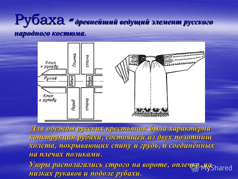 Рубаха - древнейший ведущий элемент русского народного костюма. Для одежды русских крестьянок была характерна конструкция рубахи, состоящей из двух полотнищ холста, покрывающих спину и грудь, и соединённых на плечах поликами. Для одежды русских крест