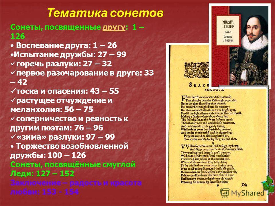История создания Большая часть сонетов написана в 1592 – 1599 годах. Впервые напечатаны в 1609 году, очевидно, без ведома автора. 154 сонета