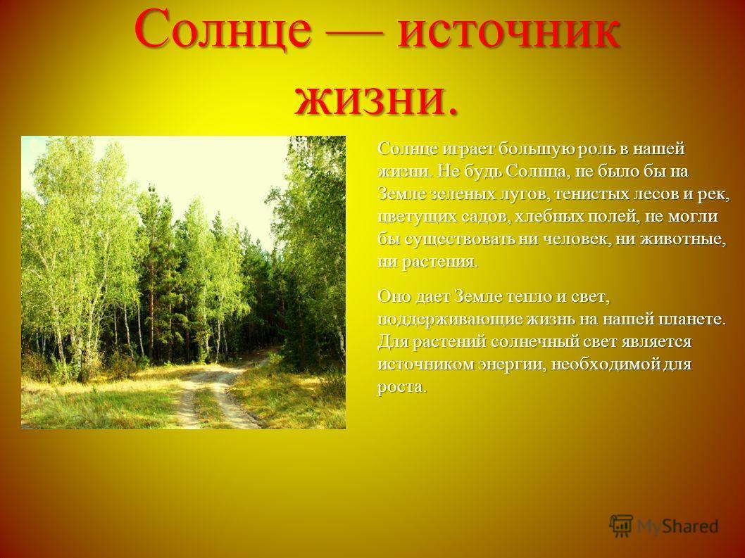 Солице источник жизни. Солице играет большую роль в нашей жизни. Не будь Солнца, не было бы на Земле зеленых лугов, тенистых лесов и рек, цветущих садов, хлебных полей, не могли бы существовать ни человек, ни животные, ни растения. Оно дает Земле теп