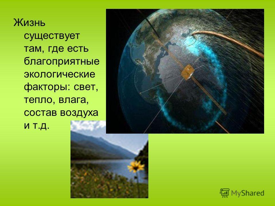 Жизнь существует там, где есть благоприятные экологические факторы: свет, тепло, влага, состав воздуха и т.д.