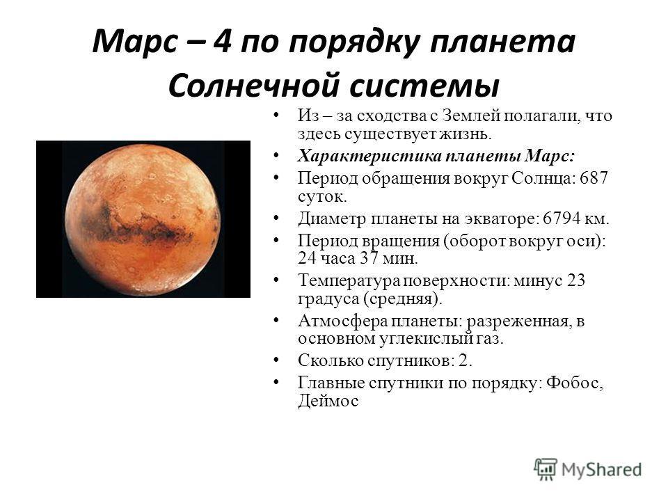 Марс – 4 по порядку планета Солнечной системы Из – за сходства с Землей полагали, что здесь существует жизнь. Характеристика планеты Марс: Период обращения вокруг Солнца: 687 суток. Диаметр планеты на экваторе: 6794 км. Период вращения (оборот вокруг