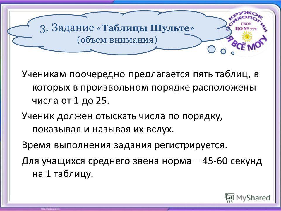 3. Задание «Таблицы Шульте» (объем внимания) Ученикам поочередно предлагается пять таблиц, в которых в произвольном порядке расположены числа от 1 до 25. Ученик должен отыскать числа по порядку, показывая и называя их вслух. Время выполнения задания