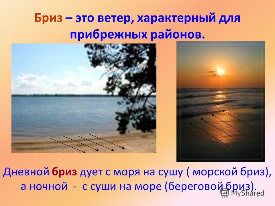 8 Бриз – это ветер, характерный для прибрежных районов. Дневной бриз дует с моря на сушу ( морской бриз), а ночной - с суши на море (береговой бриз).
