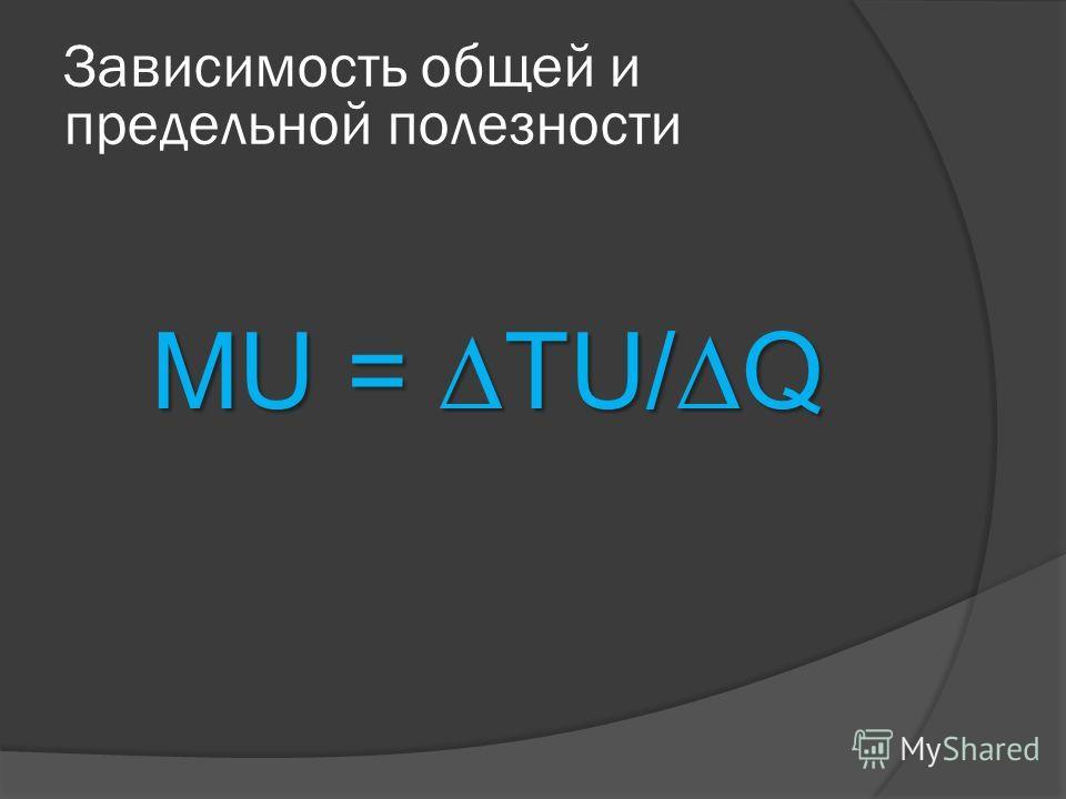 MU = TU/Q Зависимость общей и предельной полезности