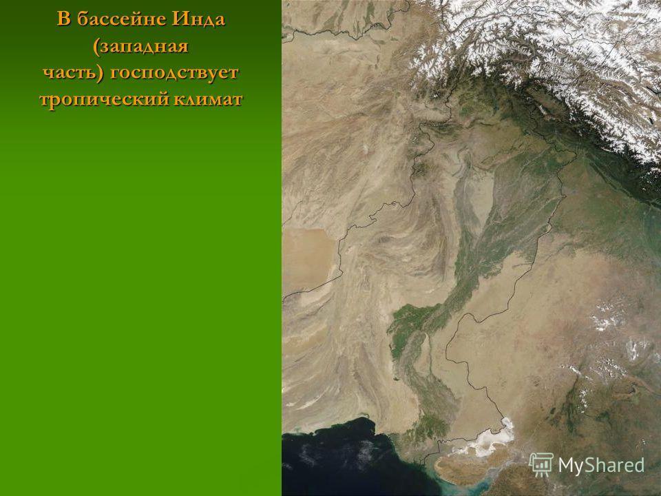 В бассейне Инда (западная часть) господствует тропический климат
