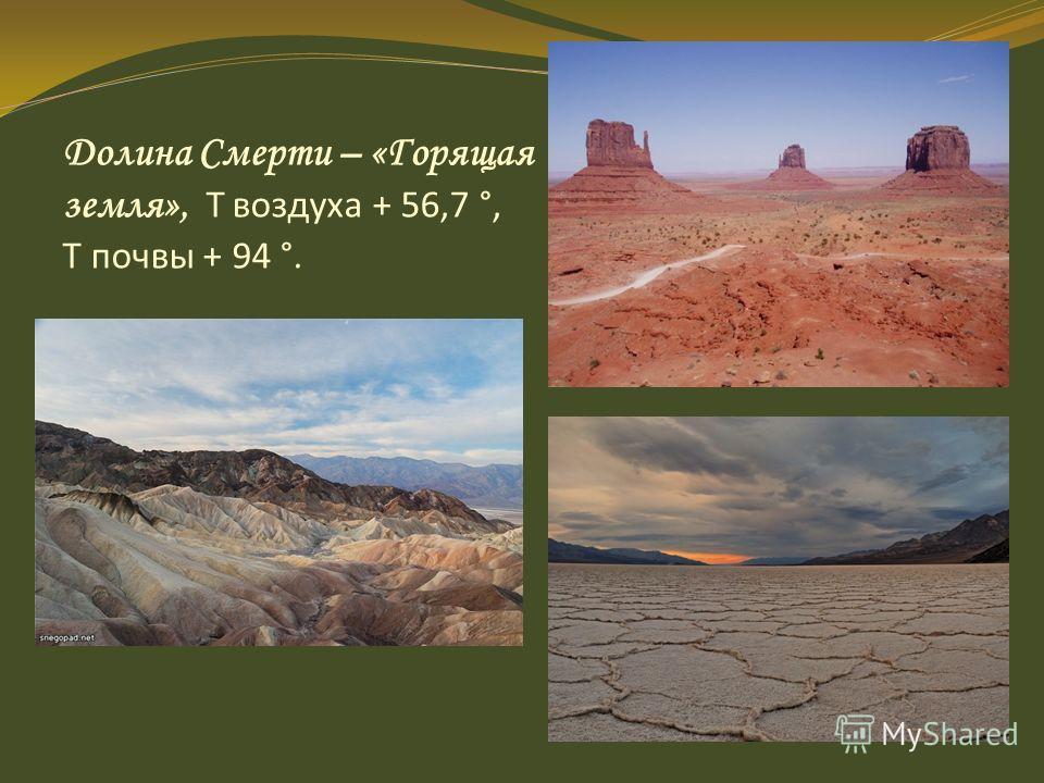 Долина Смерти – «Горящая земля», Т воздуха + 56,7 °, Т почвы + 94 °.