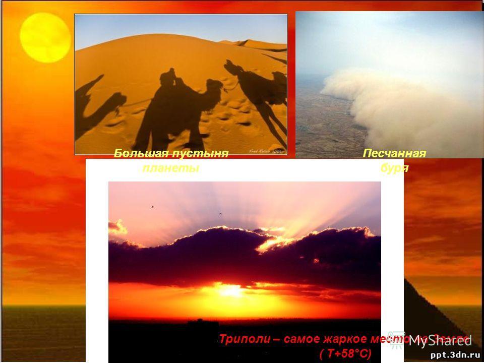 Триполи – самое жаркое место на Земле ( Τ+58°C) Большая пустыня планеты Песчанная буря