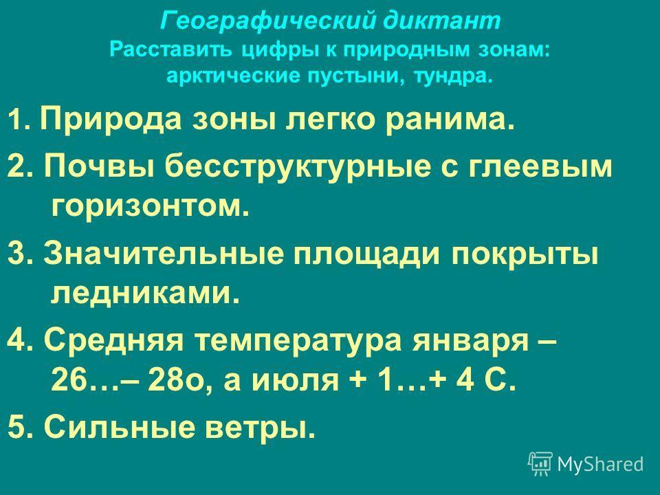 Географический диктант Расставить цифры к природным зонам: арктические пустыни, тундра. 1. Природа зоны легко ранима. 2. Почвы бесструктурные с глеевым горизонтом. 3. Значительные площади покрыты ледниками. 4. Средняя температура января – 26…– 28 о,