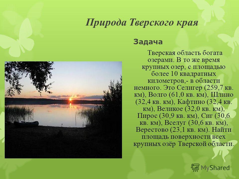 Природа Тверского края Задача Т верская область богата озерами. В то же время крупных озер, с площадью более 10 квадратных километров,- в области немного. Это Селигер (259,7 кв. км), Волго (61,0 кв. км), Шлино (32,4 кв. км), Кафтино (32,4 кв. км), Ве