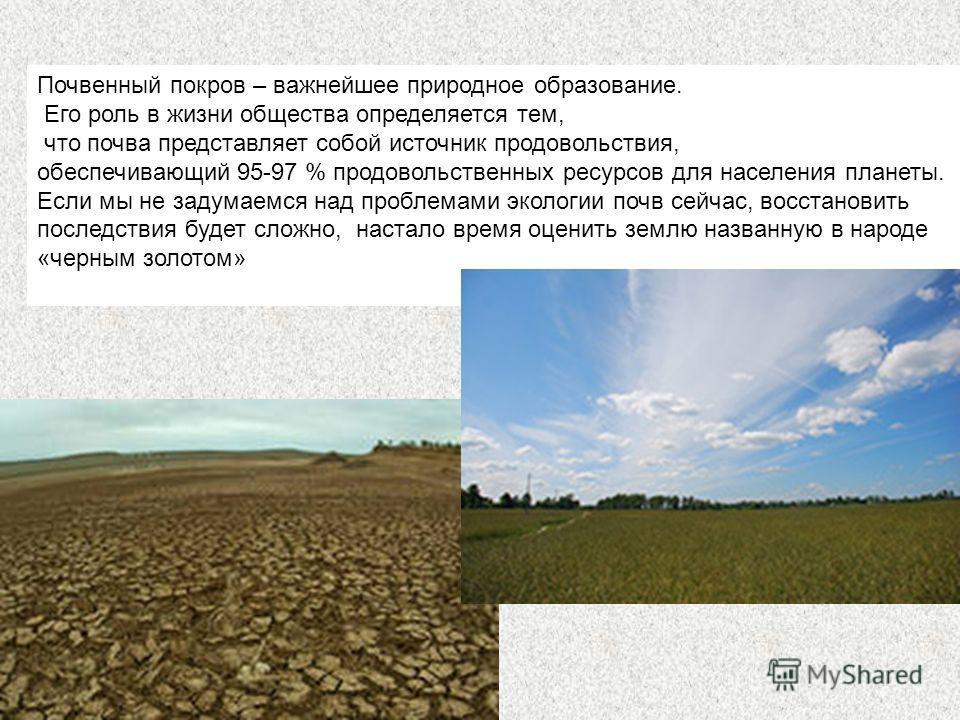 Почвенный покров – важнейшее природное образование. Его роль в жизни общества определяется тем, что почва представляет собой источник продовольствия, обеспечивающий 95-97 % продовольственных ресурсов для населения планеты. Если мы не задумаемся над п