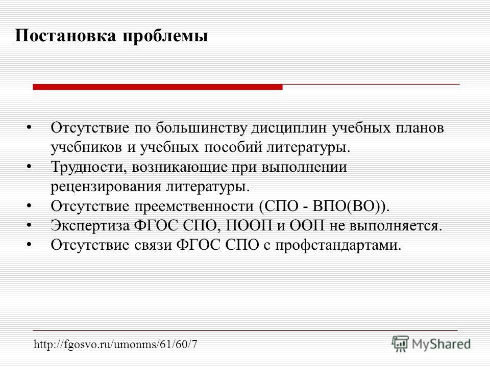 Постановка проблемы http://fgosvo.ru/umonms/61/60/7 Отсутствие по большинству дисциплин учебных планов учебников и учебных пособий литературы. Трудности, возникающие при выполнении рецензирования литературы. Отсутствие преемственности (СПО - ВПО(ВО))
