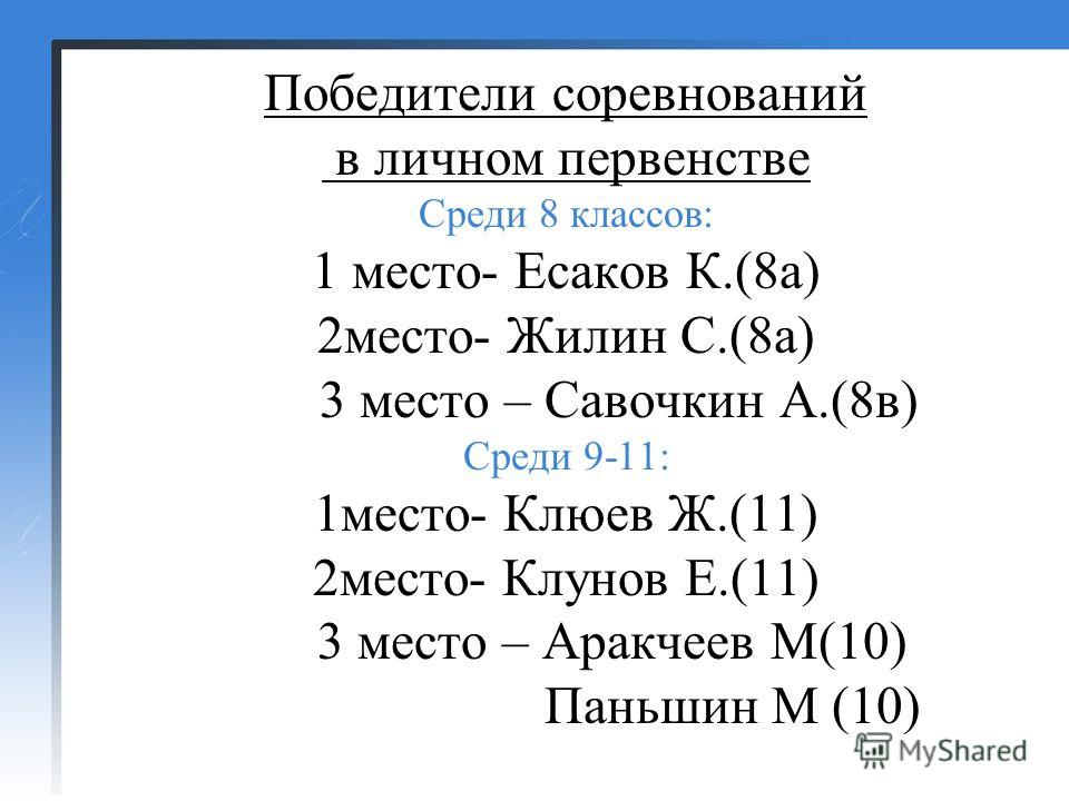 Победители соревнований в личном первенстве Среди 8 классов: 1 место- Есаков К.(8 а) 2 место- Жилин С.(8 а) 3 место – Савочкин А.(8 в) Среди 9-11: 1 место- Клюев Ж.(11) 2 место- Клунов Е.(11) 3 место – Аракчеев М(10) Паньшин М (10)