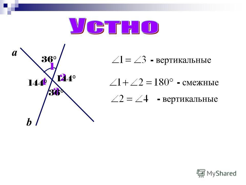 2 3 4 а b 36 144 1 - вертикальные - смежные - вертикальные