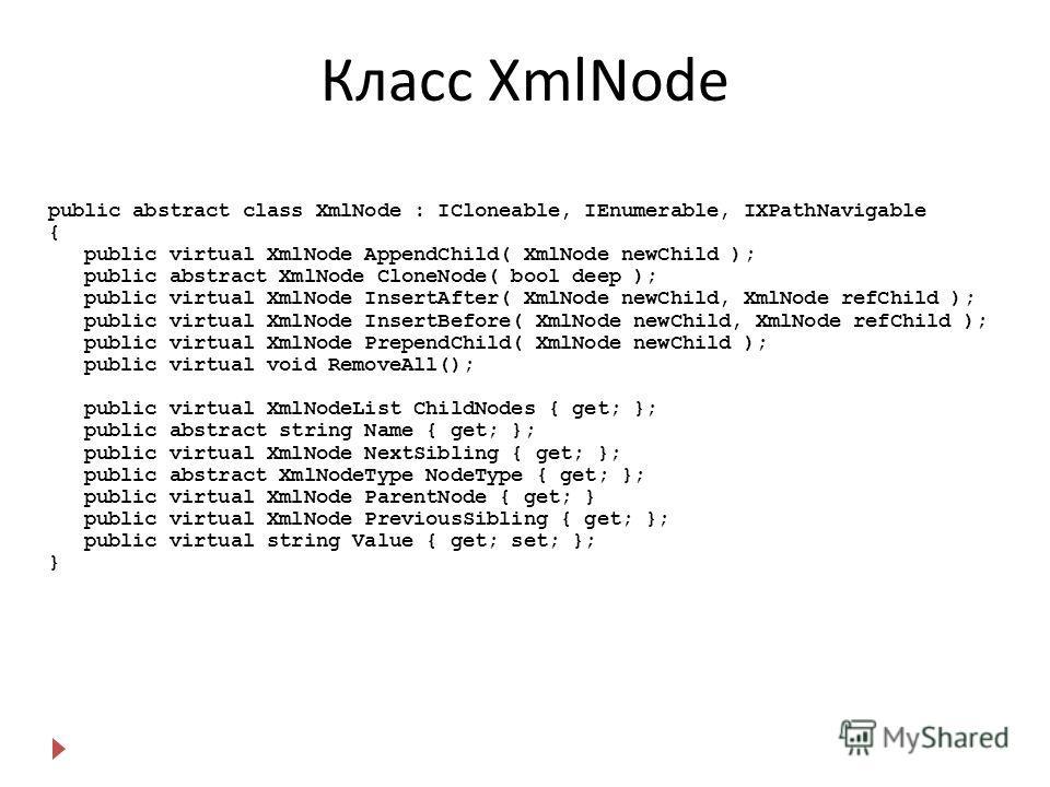 Класс XmlNode public abstract class XmlNode : ICloneable, IEnumerable, IXPathNavigable { public virtual XmlNode AppendChild( XmlNode newChild ); public abstract XmlNode CloneNode( bool deep ); public virtual XmlNode InsertAfter( XmlNode newChild, Xml