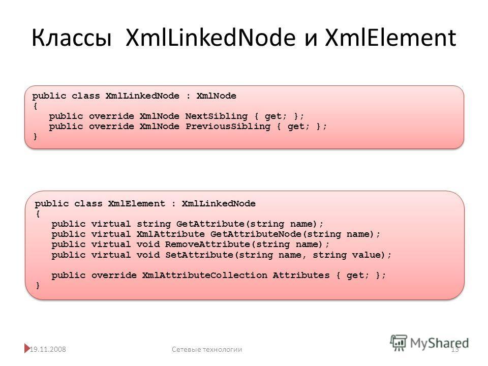 Классы XmlLinkedNode и XmlElement 19.11.2008Сетевые технологии 13 public class XmlElement : XmlLinkedNode { public virtual string GetAttribute(string name); public virtual XmlAttribute GetAttributeNode(string name); public virtual void RemoveAttribut