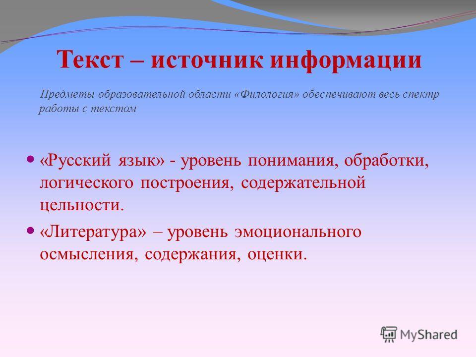 Текст – источник информации Предметы образовательной области «Филология» обеспечивают весь спектр работы с текстом «Русский язык» - уровень понимания, обработки, логического построения, содержательной цельности. «Литература» – уровень эмоционального