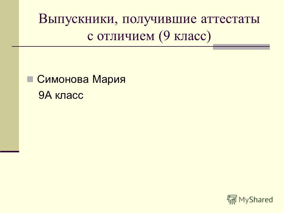 Выпускники, получившие аттестаты с отличием (9 класс) Симонова Мария 9А класс