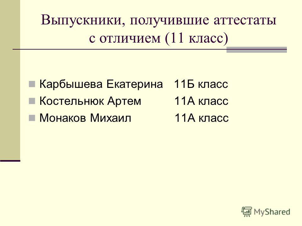 Выпускники, получившие аттестаты с отличием (11 класс) Карбышева Екатерина 11Б класс Костельнюк Артем 11А класс Монаков Михаил 11А класс