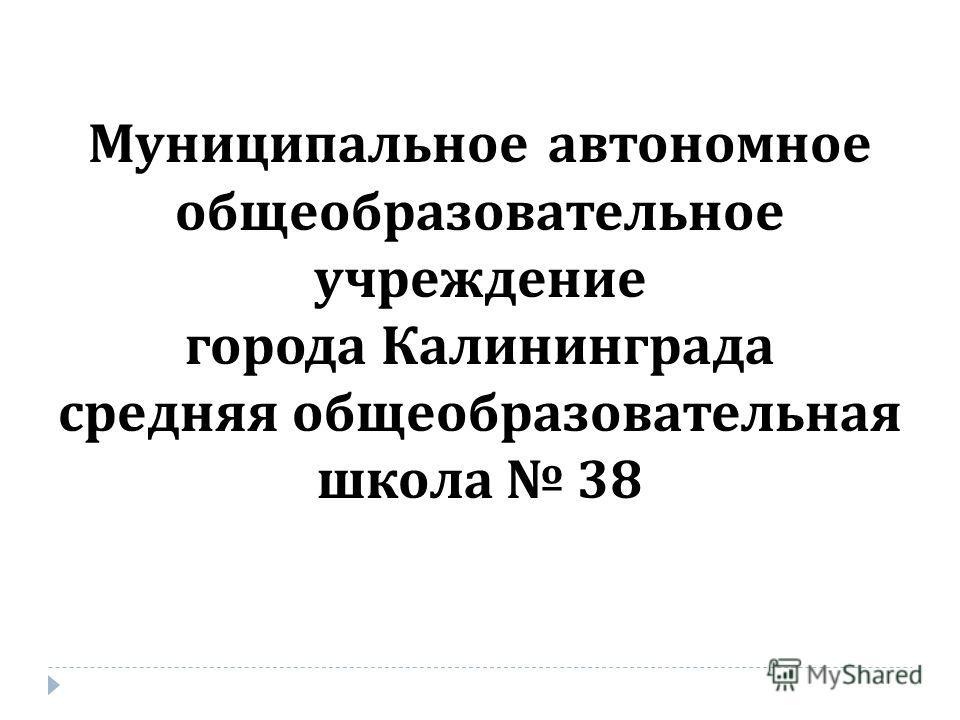Муниципальное автономное общеобразовательное учреждение города Калининграда средняя общеобразовательная школа 38