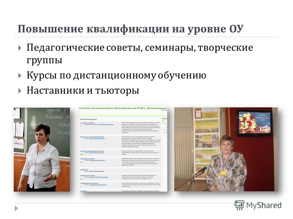 Повышение квалификации на уровне ОУ Педагогические советы, семинары, творческие группы Курсы по дистанционному обучению Наставники и тьюторы