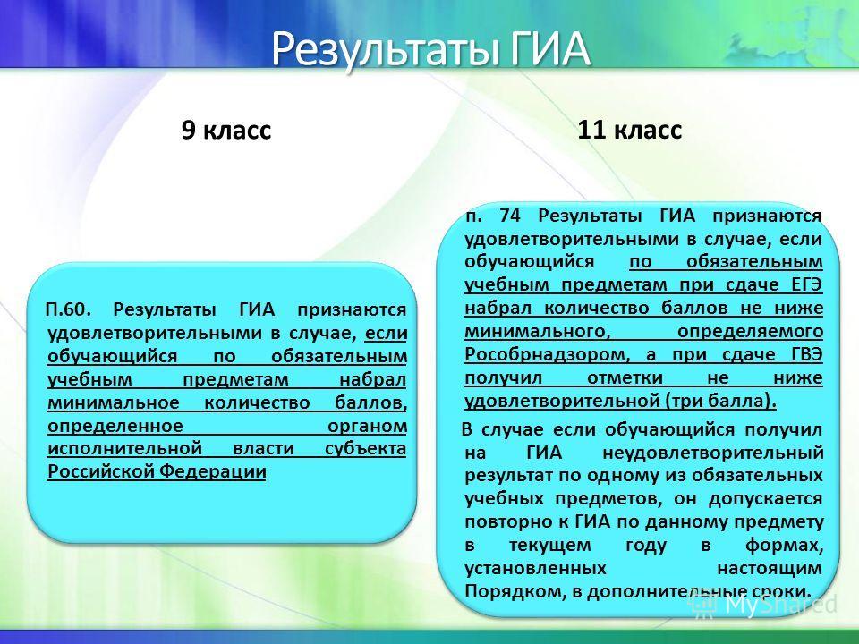 Результаты ГИА 9 класс П.60. Результаты ГИА признаются удовлетворительными в случае, если обучающийся по обязательным учебным предметам набрал минимальное количество баллов, определенное органом исполнительной власти субъекта Российской Федерации 11