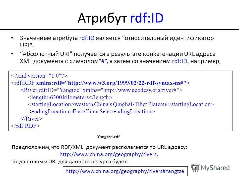 Атрибут rdf:ID Значением атрибута rdf:ID является относительный идентификатор URI