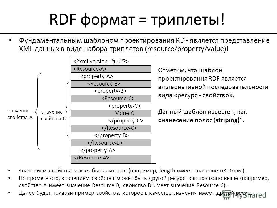 RDF формат = триплеты! Фундаментальным шаблоном проектирования RDF является представление XML данных в виде набора триплетов (resource/property/value)! Значением свойства может быть литерал (например, length имеет значение 6300 км.). Но кроме этого,