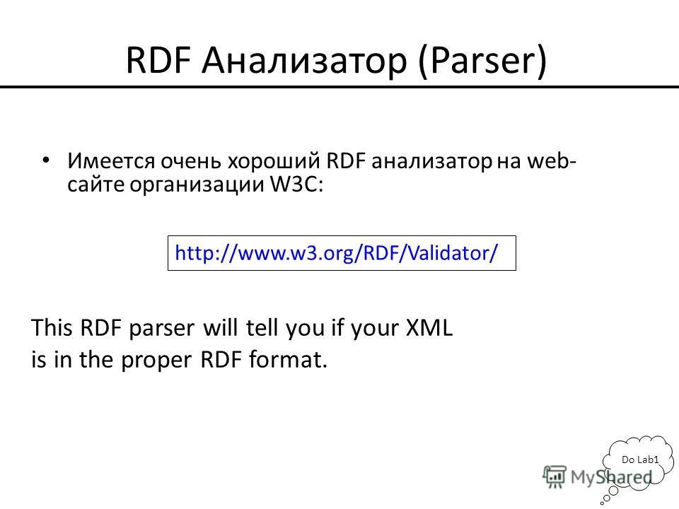 RDF Анализатор (Parser) Имеется очень хороший RDF анализатор на web- сайте организации W3C: http://www.w3.org/RDF/Validator/ This RDF parser will tell you if your XML is in the proper RDF format. Do Lab1