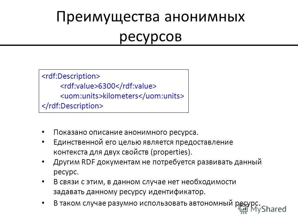Преимущества анонимных ресурсов Показано описание анонимного ресурса. Единственной его целью является предоставление контекста для двух свойств (properties). Другим RDF документам не потребуется развивать данный ресурс. В связи с этим, в данном случа
