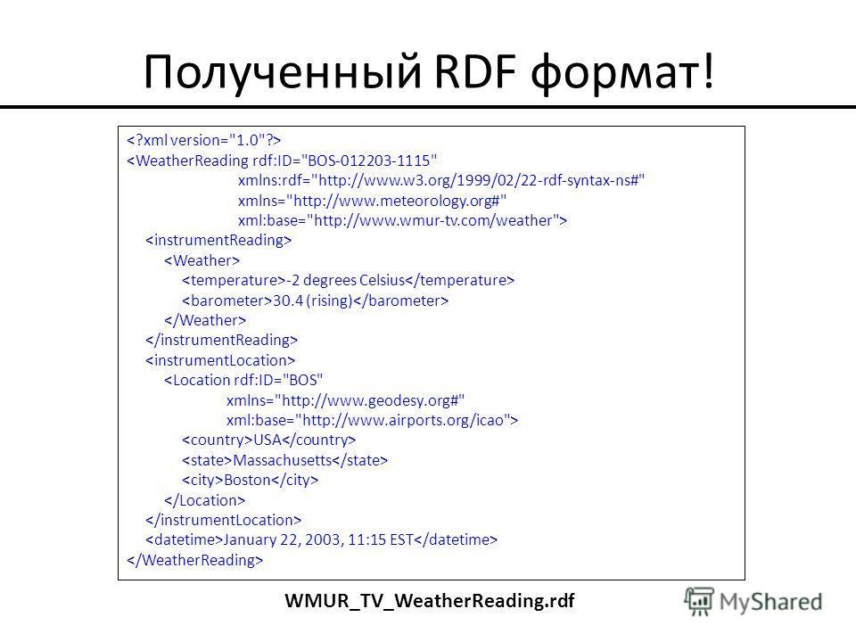 Полученный RDF формат!  -2 degrees Celsius 30.4 (rising)  USA Massachusetts Boston January 22, 2003, 11:15 EST WMUR_TV_WeatherReading.rdf