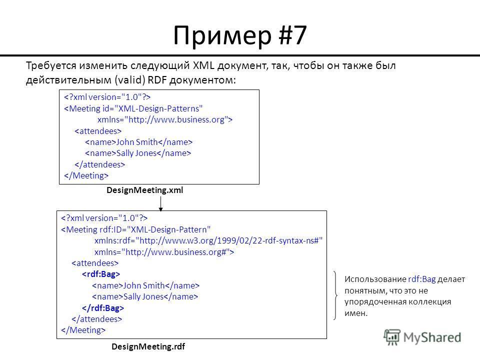 Пример #7  John Smith Sally Jones Требуется изменить следующий XML документ, так, чтобы он также был действительным (valid) RDF документом: DesignMeeting.xml Использование rdf:Bag делает понятным, что это не упорядоченная коллекция имен.  John Smith